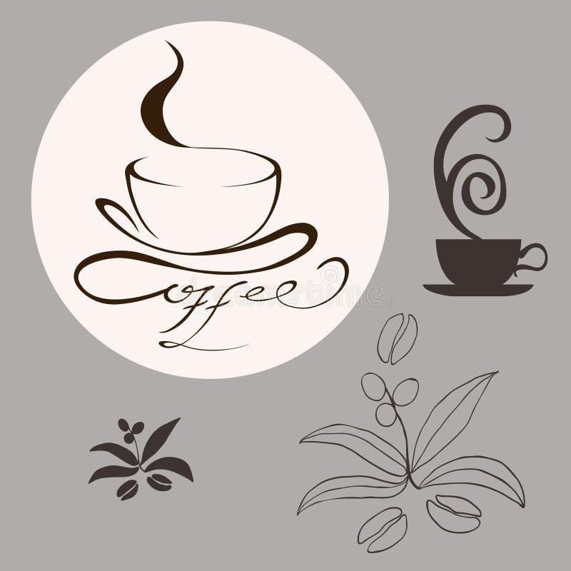 Projektów kawowi elementy ilustracji