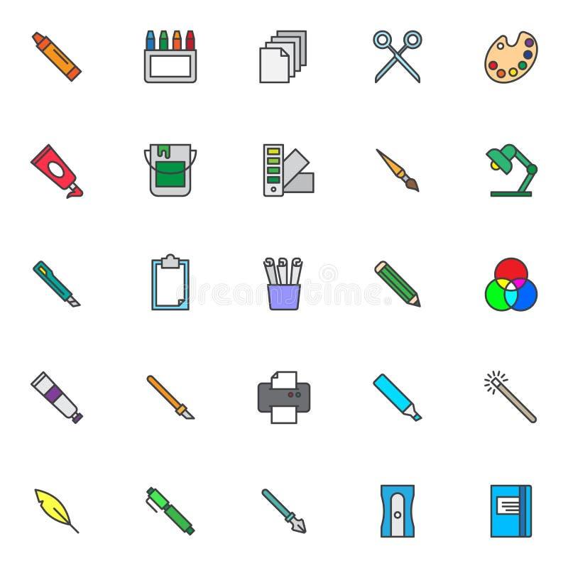 Projektów narzędzi konturu wypełniać kolorowe ikony ustawiać royalty ilustracja
