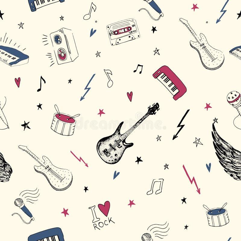 projektów symbole ilustracyjni muzyczni ty bezszwowy wzoru muzyki rockowej tła tekstury, ilustracji