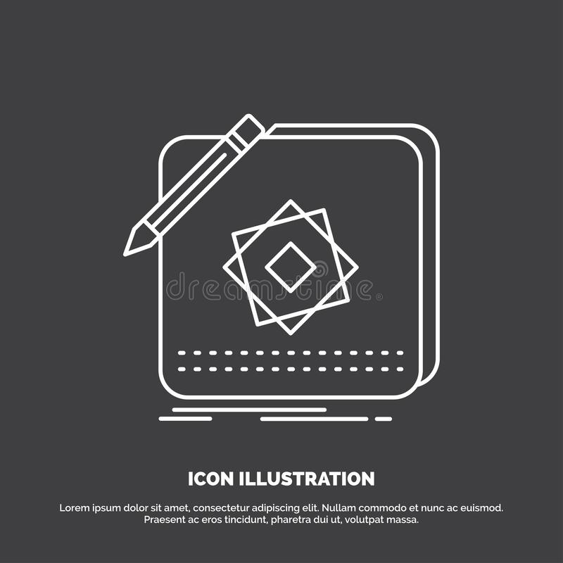 Projekt, App, logo, zastosowanie, projekt ikona Kreskowy wektorowy symbol dla UI, UX, strona internetowa i wisz?cej ozdoby zastos ilustracja wektor