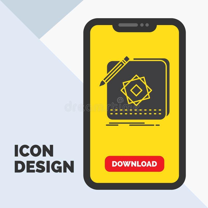 Projekt, App, logo, zastosowanie, projekta glifu ikona w wiszącej ozdobie dla ściąganie strony ? royalty ilustracja