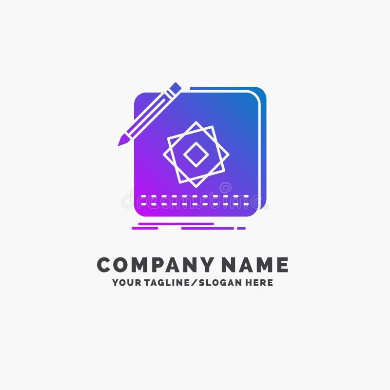 Projekt, App, logo, zastosowanie, projekta logo Purpurowy Biznesowy szablon Miejsce dla Tagline royalty ilustracja