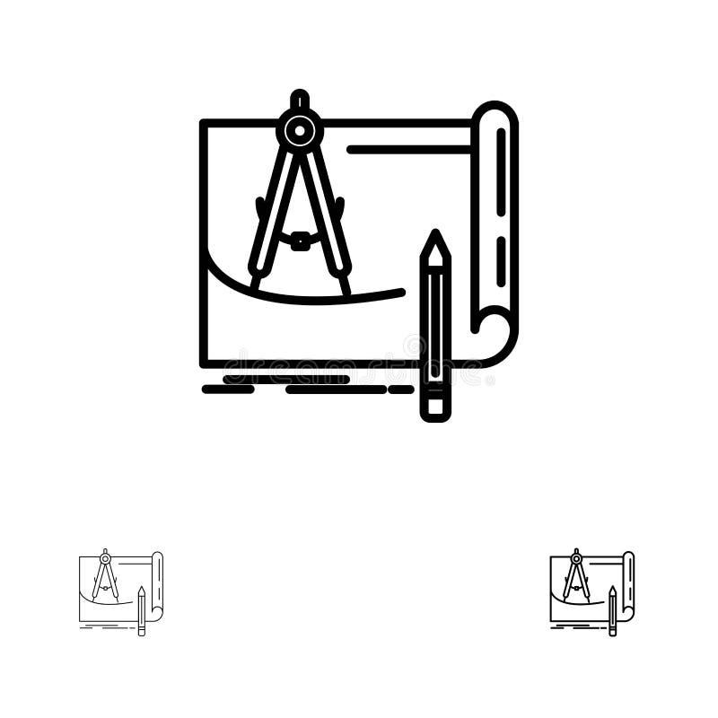 Projekt, architektura, projekt, budowa, papier, Planuje Śmiałego i cienkiego czerni linii ikony set royalty ilustracja