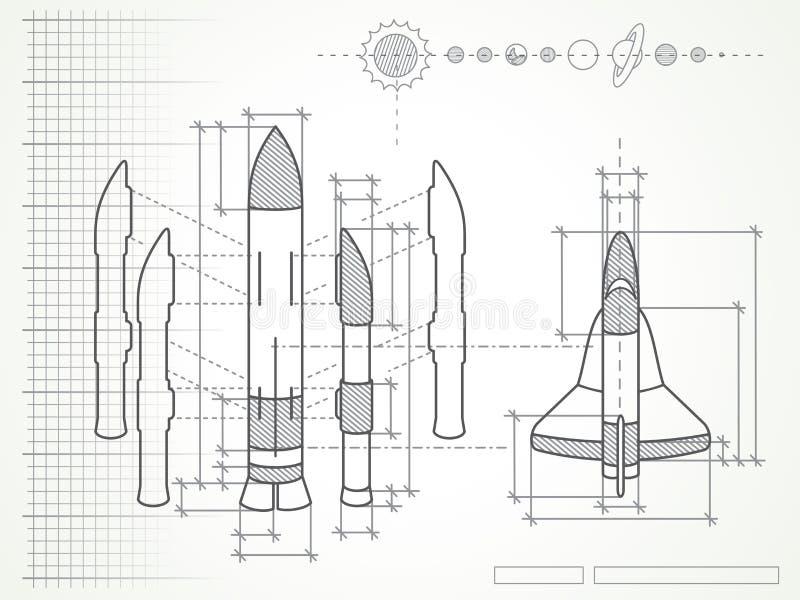 Projekt - astronautycznego wahadłowa planety i plan ilustracji