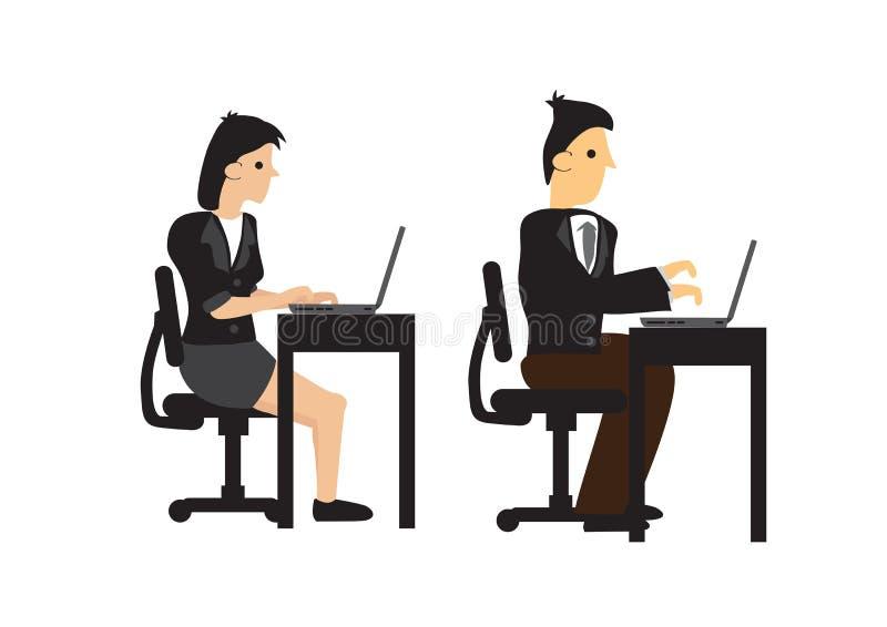 projekt biznesmen i kobieta pracuje na ich biurkach z ich komputerem Pojęcie praca zespołowa lub korporacyjny styl życia royalty ilustracja