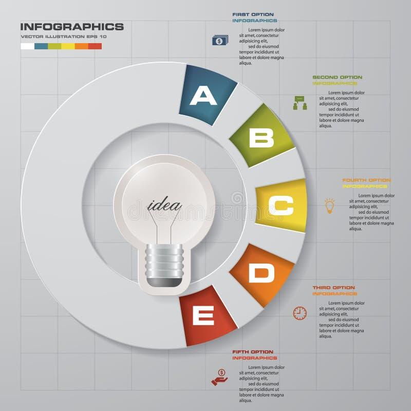 Projekt Biznesowej mapy 5 kroków diagram w żarówka kształcie ilustracja wektor