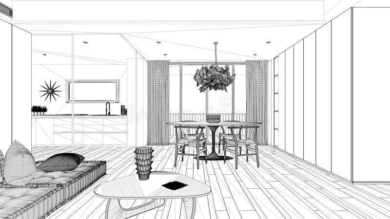 Projekt Bluprint, minimalistyczny salon z kuchnią i stołem do jadalni, sofa z poduszkami, stolikiem do kawy, lampą wisiorkową, ilustracji