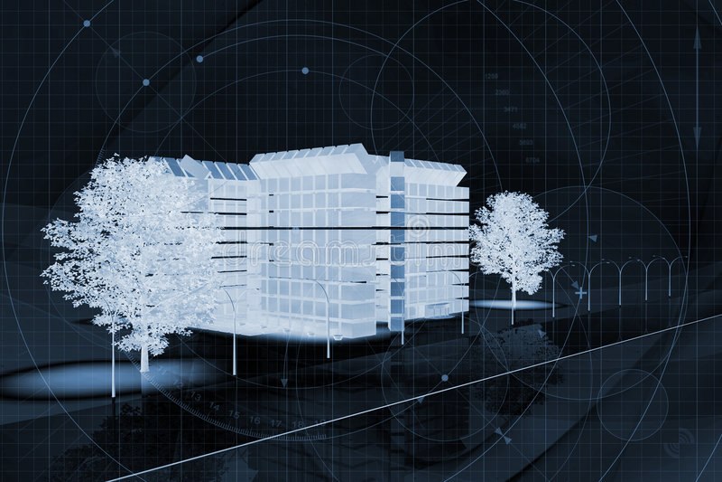 projekt budynku handlowa royalty ilustracja