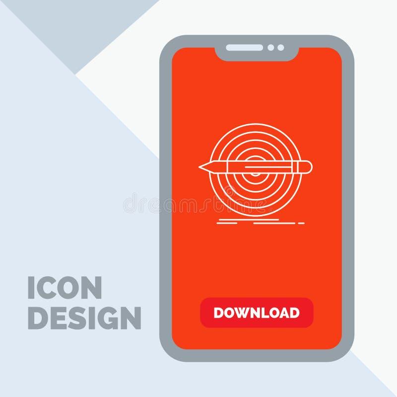 Projekt, cel, ołówek, set, cel linii ikona w wiszącej ozdobie dla ściąganie strony ilustracja wektor