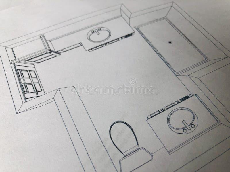 Projekt dla łazienki przemodelowywa zdjęcie royalty free