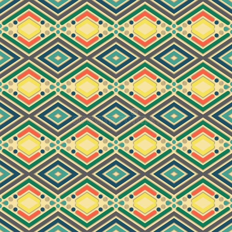 Projekt dla drukować na tkaninie, tkanina, papier, opakowanie, scrapbooking Tradycyjny dachówkowy ornament w etnicznym stylu bezs ilustracji