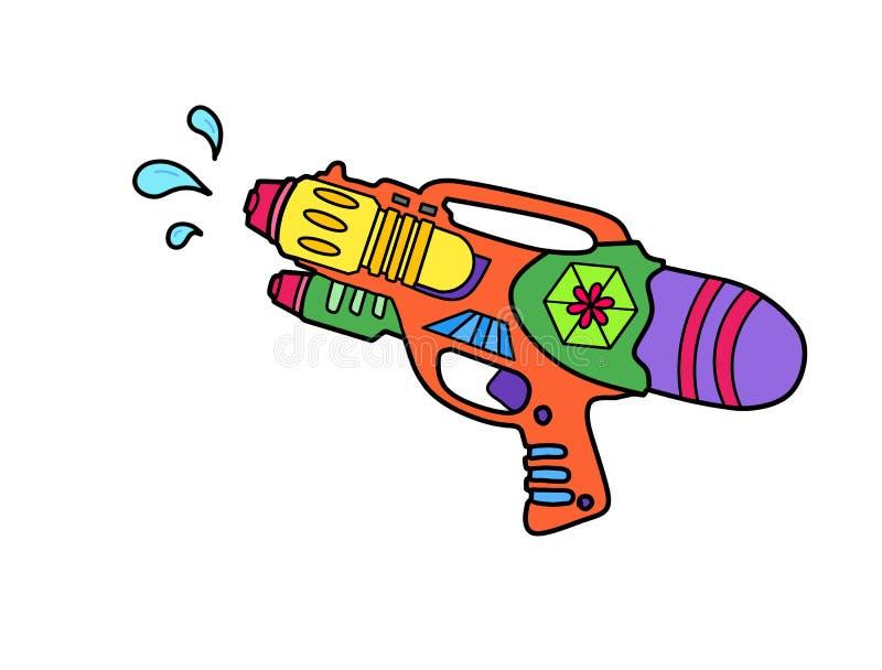 Projekt dla lata: Kolorowy wodny pistolet odizolowywający na białym tle z ścinek ścieżką dla szybkiego i łatwego projekta, ręka r royalty ilustracja