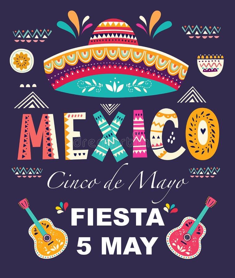 Projekt dla Meksykańskiego wakacyjnego Cinco De Mayo royalty ilustracja