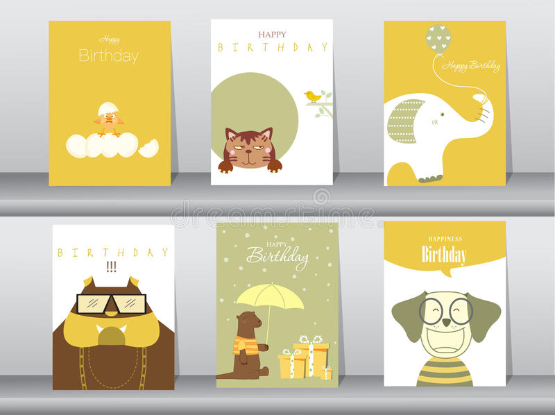Projekt dla powitania i urodzinowej karty, ilustracje ilustracja wektor
