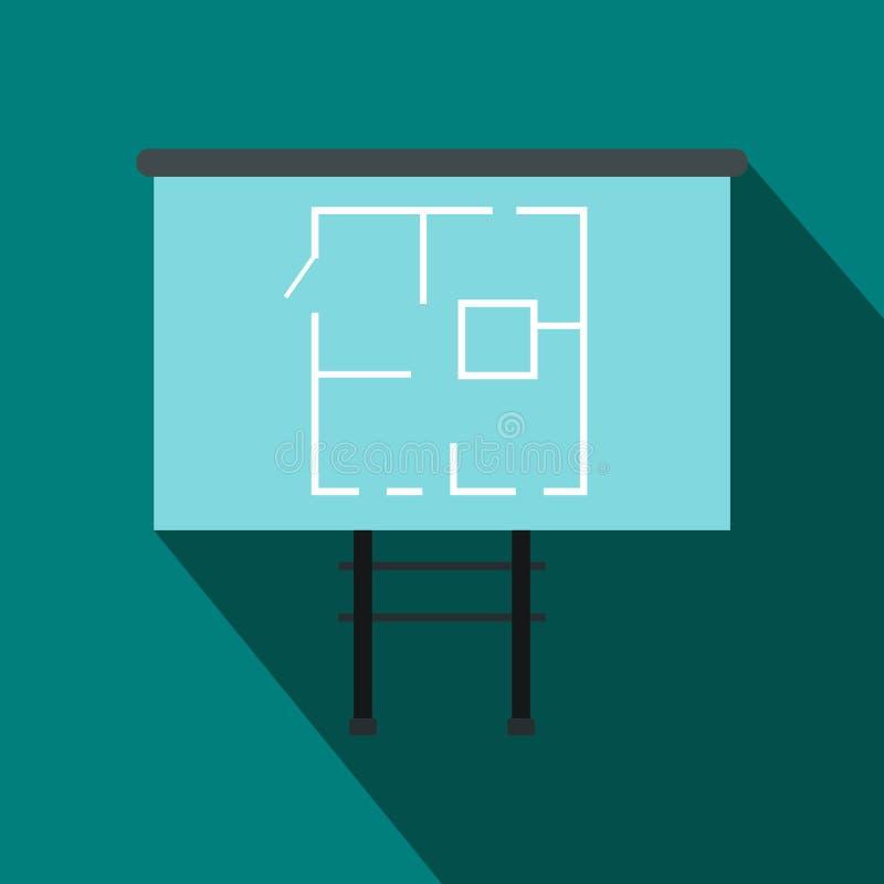 Projekt dom na deskowej ikonie, mieszkanie styl ilustracji