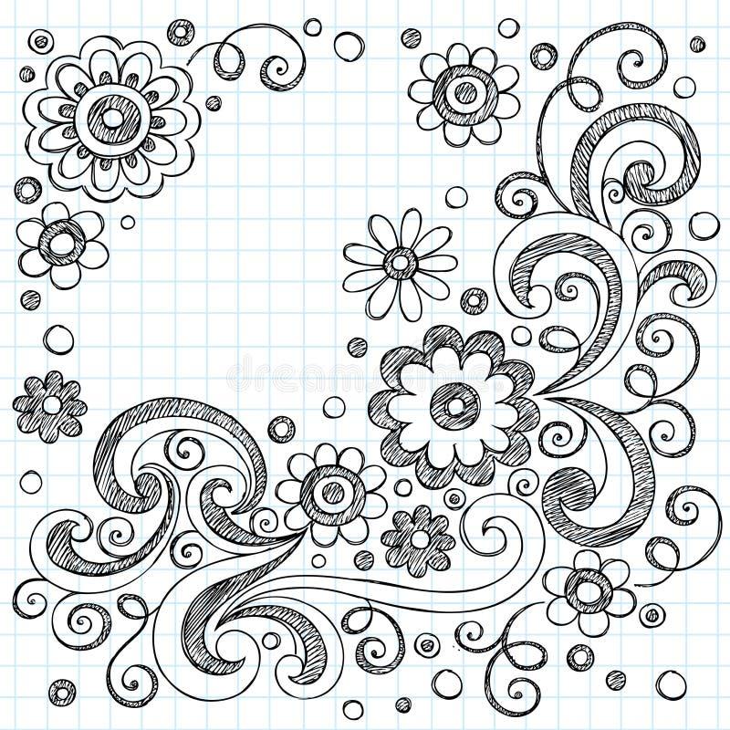 projekt doodles elementów kwiatów szkicowego wektor ilustracja wektor