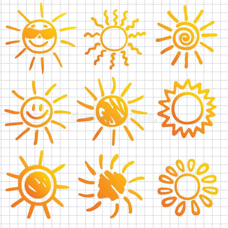 projekt doodles elementów słońca ilustracji