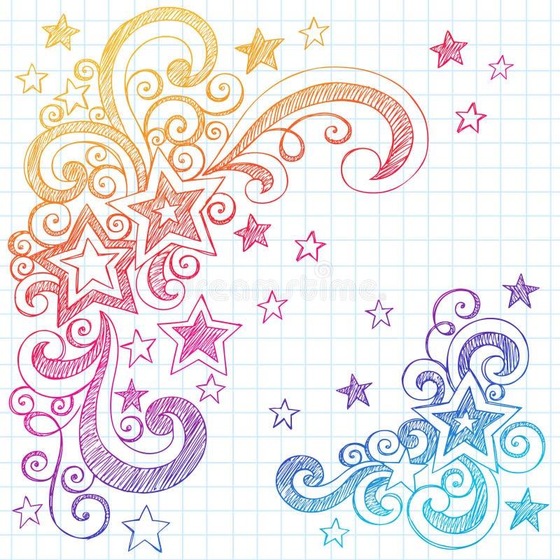 projekt doodles gwiazda ilustracyjnego szkicowego wektor ilustracji