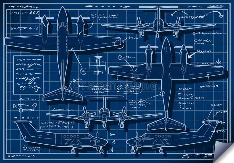 Projekt för blått tryck för Infographic flygplan royaltyfri illustrationer