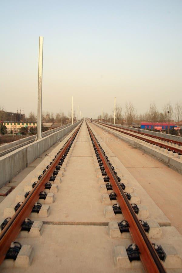Projekt för Luoyang LongMen järnvägsstationkonstruktion i Zhengxi hög hastighetsjärnväg arkivbilder
