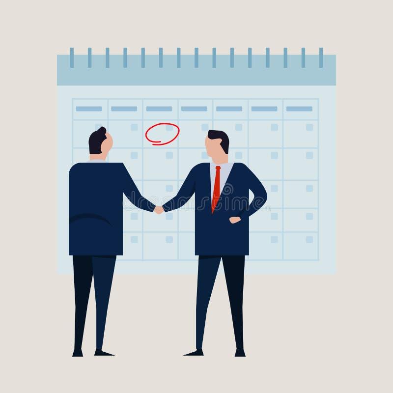 Projekt för mål för Tid kalenderförpliktelse Följe för stående handskakning för överenskommelse för affärsfolk formellt bärande B royaltyfri illustrationer