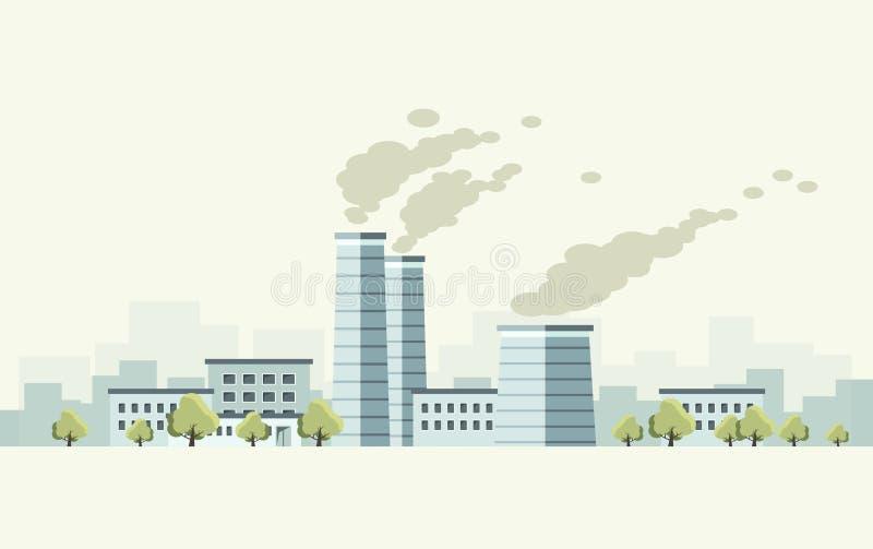 Projekt fabryka z drzewa mieszkania stylem ilustracji