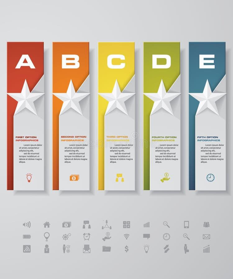 Projekt gwiazdy liczby sztandarów szablon z setem biznesowe ikony ilustracja wektor