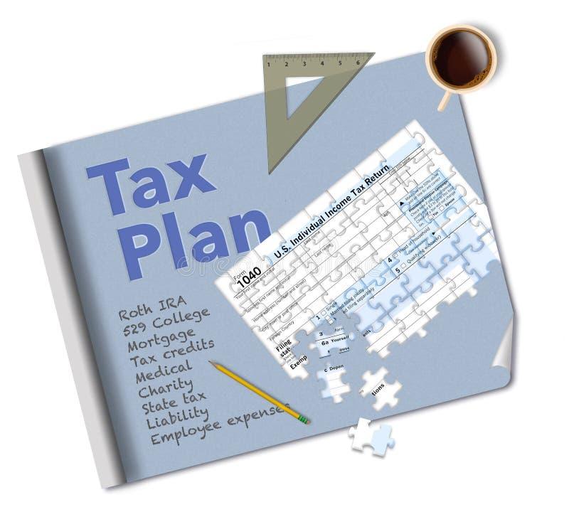 Projekt 1040 i podatek forma która jest wyrzynarki łamigłówką robimy ten ilustracji o podatku dochodowego planowaniu fotografia royalty free