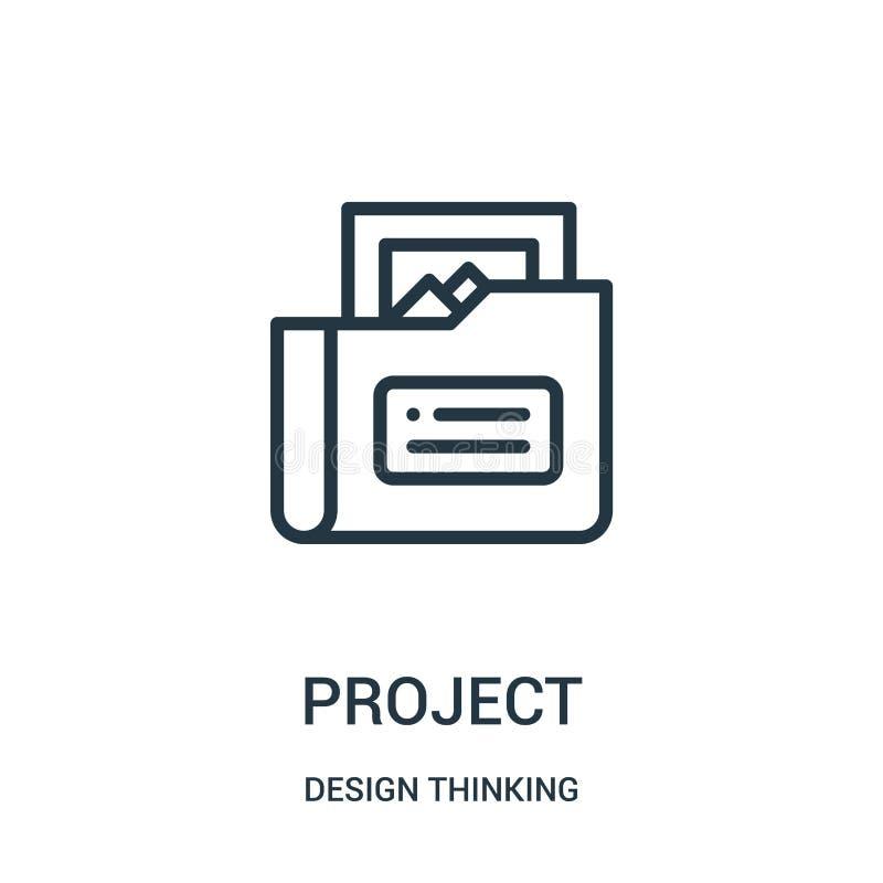 projekt ikony wektor od projekt myślącej kolekcji Cienka kreskowa projekta konturu ikony wektoru ilustracja ilustracja wektor