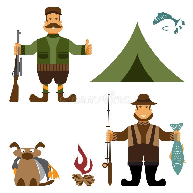 projekt ilustracja z rybaka i myśliwego ikonami wektor ilustracji