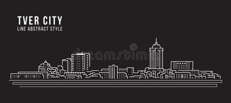 Projekt ilustracji wektorowej grafiki Cityscape Building Line — Twera City royalty ilustracja