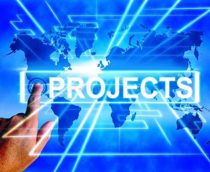 Projekt-Karte zeigt weltweit oder Internet-Aufgabe oder Tätigkeit an stock abbildung