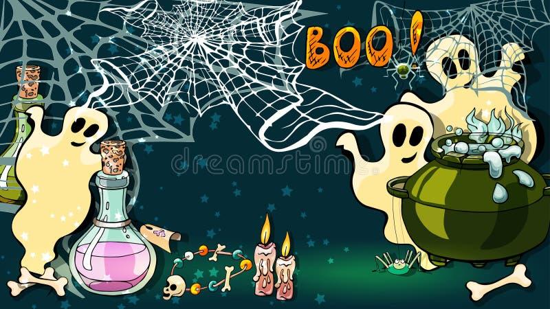 Projekt karty z życzeniami na Halloween ilustracja wektor