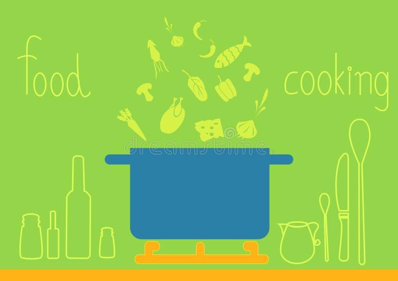 Projekt kitchenware na zielonych tło, ilustracje ilustracja wektor