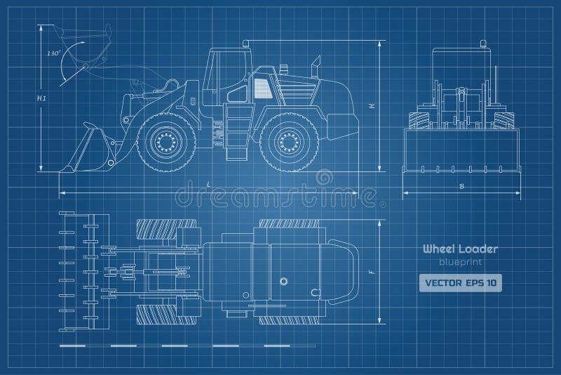 Projekt koło ładowacz Wierzchołka, bocznego i frontowego widok, Dieslowska czerparka Hydrauliczny maszyneria wizerunek Przemysłow ilustracji
