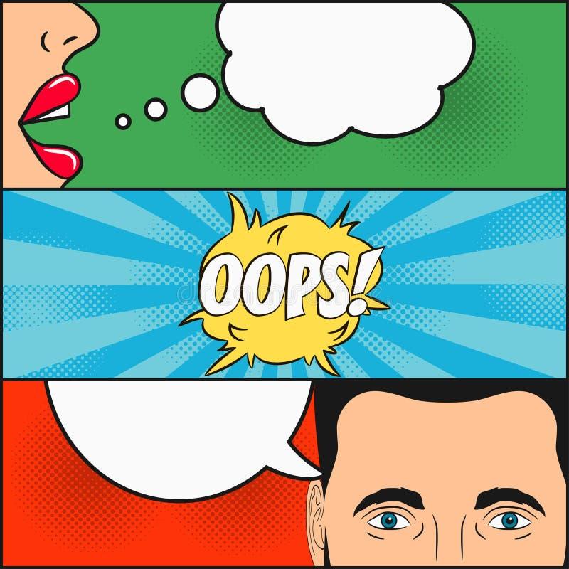Projekt komiks strona Dialog dziewczyna i mężczyzna z mową gulgoczemy z emocjami - OOPS Kobiety ` s wargi i męska twarz z oczami ilustracja wektor
