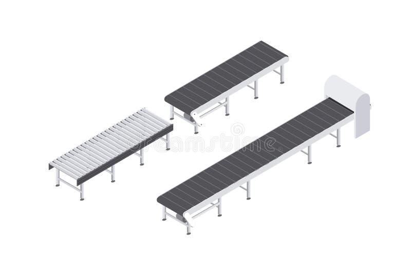 Projekt konwejerów rolowników i pasków wyposażenie ustawiający dla przemysłu isometric wektorowy illusration ilustracja wektor