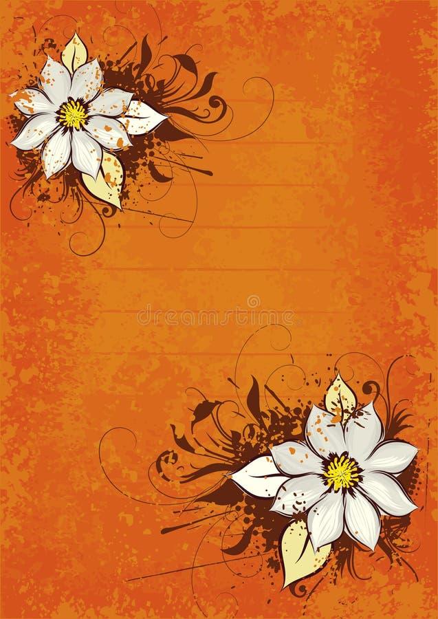 projekt kwiecista pomarańcze ilustracji