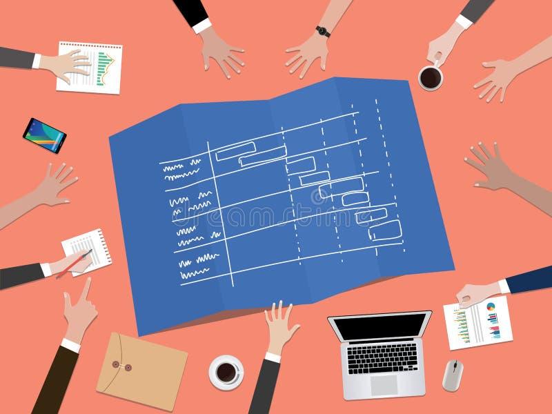 Projekt linii czasu rozkładu pojęcia ilustracja z ręki drużyny pracą na górze stołu wpólnie ilustracja wektor