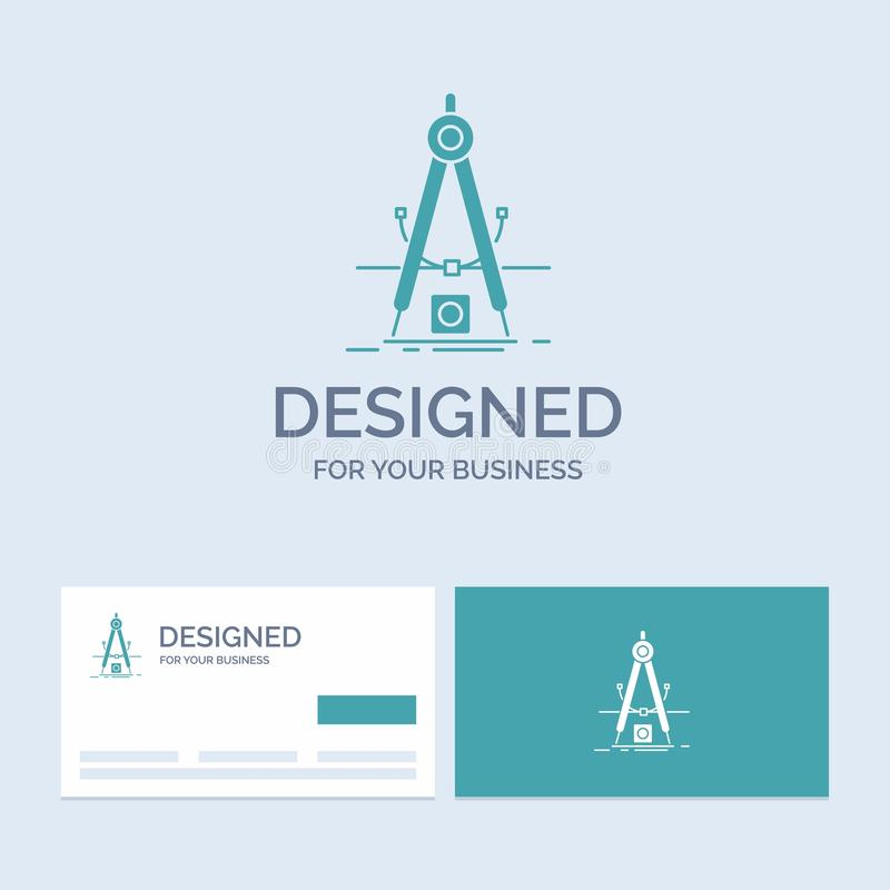 Projekt, miara, produkt, światowość, rozwoju logo glifu ikony Biznesowy symbol dla twój biznesu Turkusowe wizyt?wki z ilustracji
