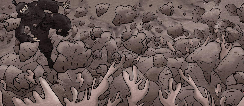 Projekt ninja w rockowym cavern ilustracja wektor