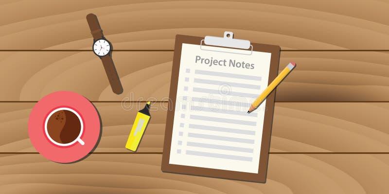 Projekt notatki ilustracyjne z schowkiem i papierkową robotą dokumentują tekst ilustracja wektor