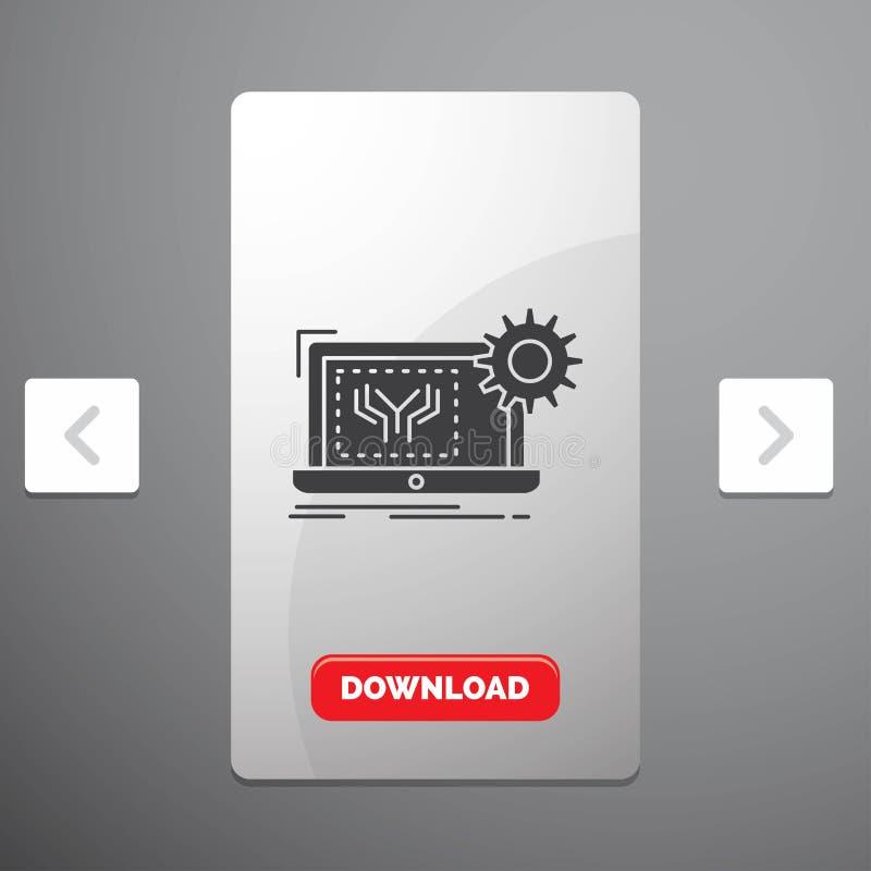 Projekt, obwód, elektronika, inżynieria, narzędzia glifu ikona w biby paginacji suwaka projekcie & Czerwony ściąganie guzik, ilustracji