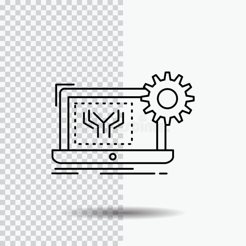 Projekt, obwód, elektronika, inżynieria, narzędzia Kreskowa ikona na Przejrzystym tle Czarna ikona wektoru ilustracja ilustracji