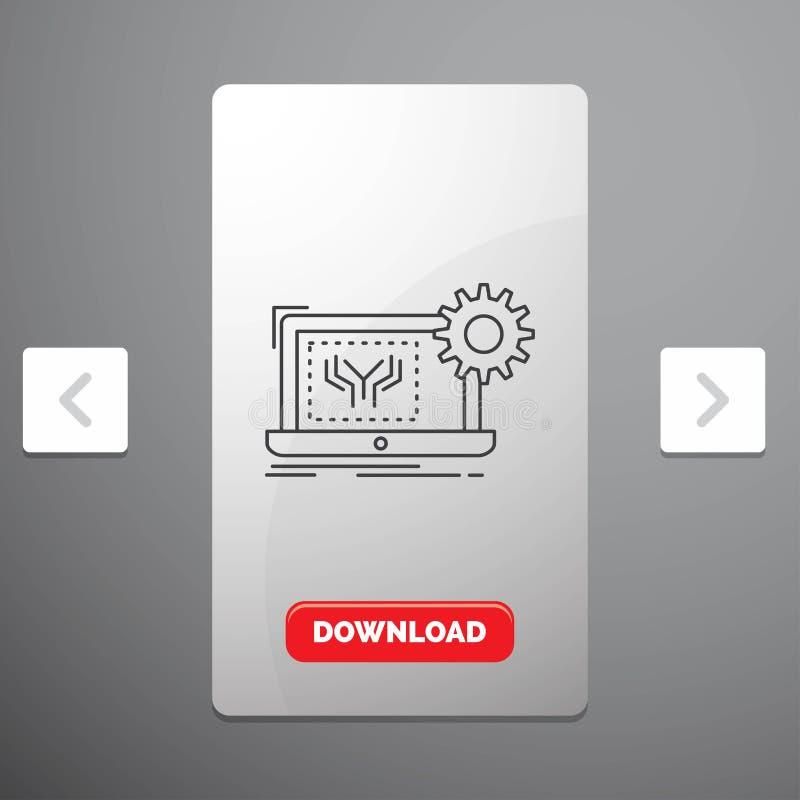 Projekt, obwód, elektronika, inżynieria, narzędzia Kreskowa ikona w biby paginacji suwaka projekcie & Czerwony ściąganie guzik, ilustracji