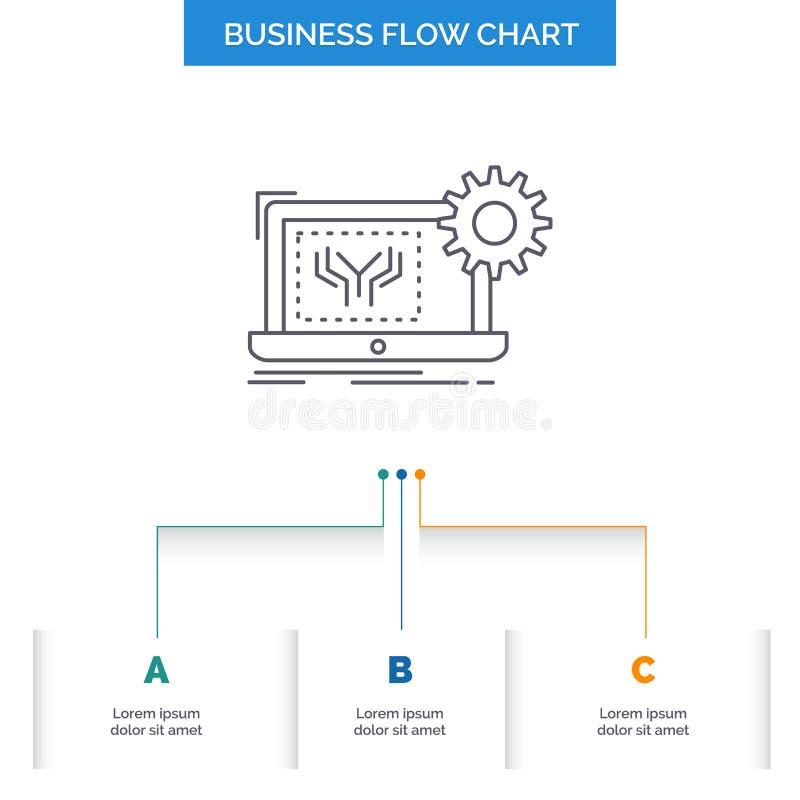 Projekt, obwód, elektronika, inżynieria, narzędzia Spływowej mapy Biznesowy projekt z 3 krokami Kreskowa ikona Dla prezentacji ilustracji