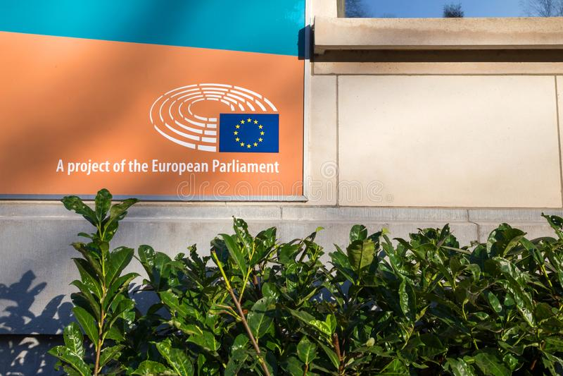 Projekt parlament europejski podpisuje wewnątrz Brussels Belgium zdjęcie stock