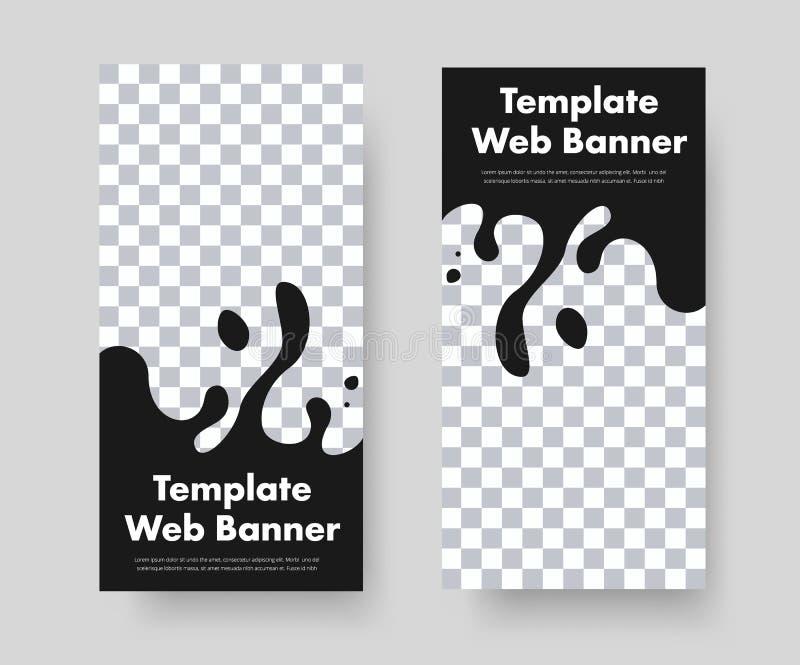 Projekt pionowo czarni sieć sztandary z abstrakt kształtującą formą dla teksta royalty ilustracja