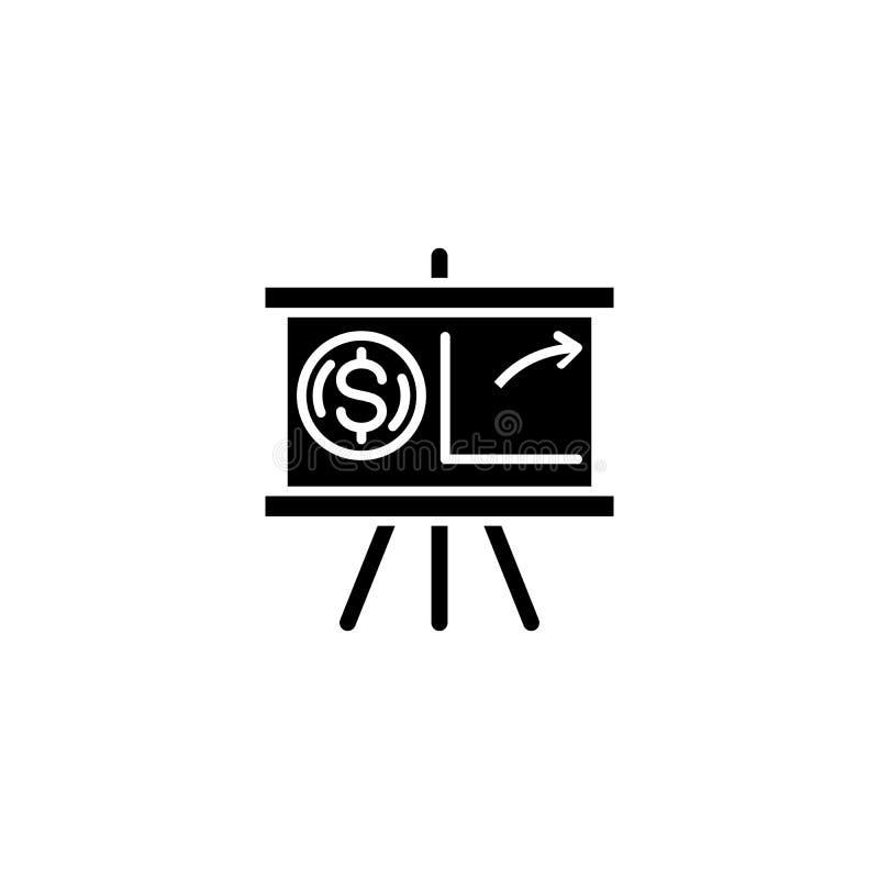 Projekt prezentaci czerni ikony pojęcie Projektuje prezentacja płaskiego wektorowego symbol, znak, ilustracja ilustracji
