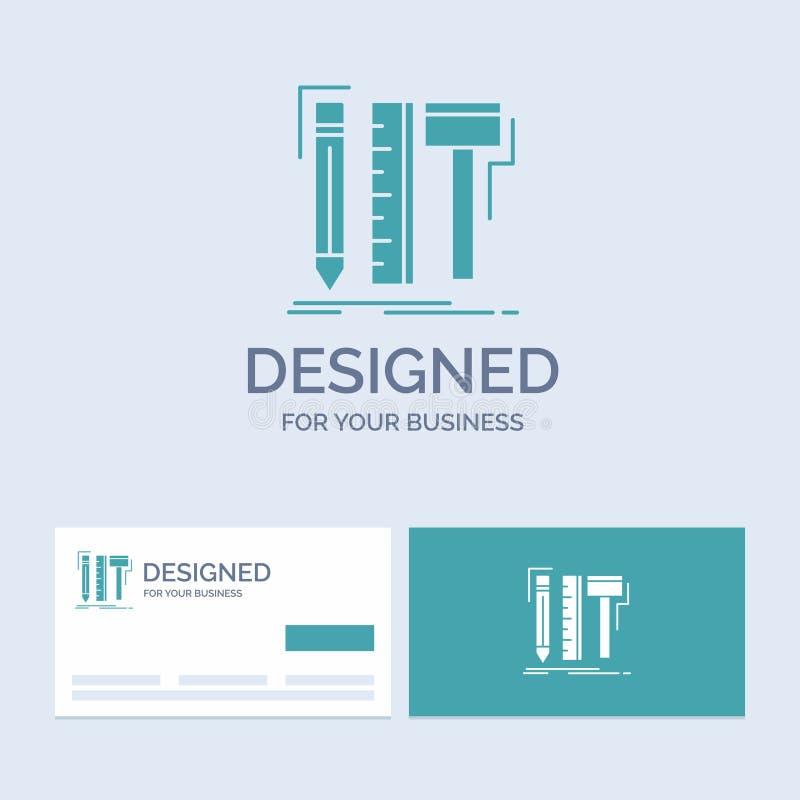 Projekt, projektant, cyfrowy, narzędzia, ołówkowy Biznesowy logo glifu ikony symbol dla twój biznesu Turkusowe wizyt?wki z gatunk royalty ilustracja